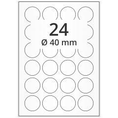 LASER Etiketten, DIN A4 Bogen, Papier, ablösbar, matt, weiß, unbes., Ø 40 mm, 100 Blatt, 2400 Etikett(en)