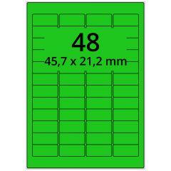 LASER Etiketten, DIN A4 Bogen, Papier, ablösbar, matt, grün, 45,7 x 21,2 mm, 100 Blatt, 4800 Etikett(en)