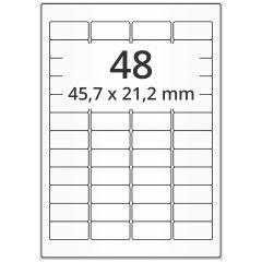 LASER Etiketten, DIN A4 Bogen, Papier, ablösbar, matt, weiß, unbes., 45,7 x 21,2 mm, 100 Blatt, 4800 Etikett(en)