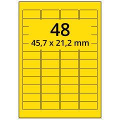 LASER Etiketten, DIN A4 Bogen, Papier, ablösbar, matt, gelb, unbes., 45,7 x 21,2 mm, 100 Blatt, 4800 Etikett(en)