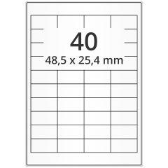LASER Etiketten, DIN A4 Bogen, Papier, ablösbar, matt, weiß, unbes., 48,5 x 25,4 mm, 100 Blatt, 4000 Etikett(en)