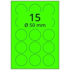 Laser Etiketten, DIN A4 Bogen, Papier, leucht grün, permanent klebend, matt, Ø 50 mm, 1500 Etikett(en) auf 100 Blatt