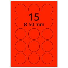 Laser Etiketten, DIN A4 Bogen, Papier, leucht rot, permanent klebend, matt, Ø 50 mm, 1500 Etikett(en) auf 100 Blatt