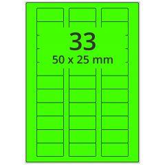 sw/fbg Laser Etiketten, DIN A4 Bogen, Papier, leucht grün, permanent klebend, matt, 50 x 25 mm, 3300 Etikett(en) auf 100 Blatt