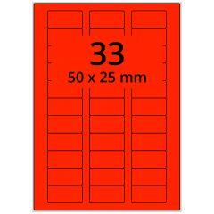 sw/fbg Laser Etiketten, DIN A4 Bogen, Papier, leucht rot, permanent klebend, matt, 50 x 25 mm, 3300 Etikett(en) auf 100 Blatt