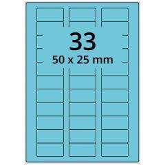 LASER Etiketten, DIN A4 Bogen, Papier, permanent, matt, blau, 50 x 25 mm, 100 Blatt, 3300 Etikett(en)