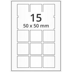 LASER Etiketten, DIN A4 Bogen, Papier, permanent, matt, weiß (blickdicht), 50 x 50 mm, 100 Blatt, 1500 Etikett(en)