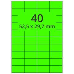 sw/fbg Laser Etiketten, DIN A4 Bogen, Papier, leucht grün, permanent klebend, matt, 52,5 x 29,7 mm, 4000 Etikett(en) auf 100 Blatt