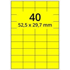 sw/fbg Laser Etiketten, DIN A4 Bogen, Papier, leuchtgelb, permanent klebend, matt, 52,5 x 29,7 mm, 4000 Etikett(en) auf 100 Blatt