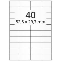 LASER Etiketten, DIN A4 Bogen, Papier, ablösbar, matt, weiß, unbes., 52,5 x 29,7 mm, 100 Blatt, 4000 Etikett(en)
