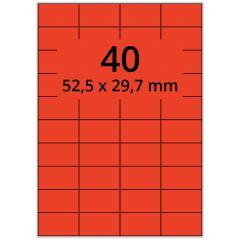 LASER Etiketten, DIN A4 Bogen, Papier, permanent, matt, rot, 52,5 x 29,7 mm, 100 Blatt, 4000 Etikett(en)