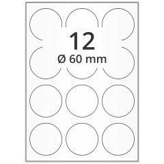 LASER Etiketten, DIN A4 Bogen, Papier, ablösbar, matt, weiß, unbes., Ø 60 mm, 100 Blatt, 1200 Etikett(en)