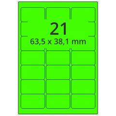 Laser Etiketten, DIN A4 Bogen, Papier, leucht grün, permanent klebend, matt, 63,5 x 38,1 mm, 2100 Etikett(en) auf 100 Blatt