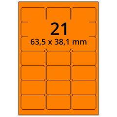 Laser Etiketten, DIN A4 Bogen, Papier, leucht orange, permanent klebend, matt, 63,5 x 38,1 mm, 2100 Etikett(en) auf 100 Blatt