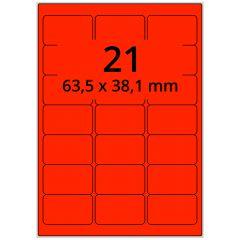 Laser Etiketten, DIN A4 Bogen, Papier, leucht rot, permanent klebend, matt, 63,5 x 38,1 mm, 2100 Etikett(en) auf 100 Blatt