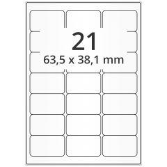 LASER Etiketten, DIN A4 Bogen, Papier, ablösbar, matt, weiß, unbes., 63,5 x 38,1 mm, 100 Blatt, 2100 Etikett(en)