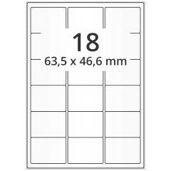 LASER Etiketten, DIN A4 Bogen, Papier, ablösbar, matt, weiß, unbes., 63,5 x 46,6 mm, 100 Blatt, 1800 Etikett(en)