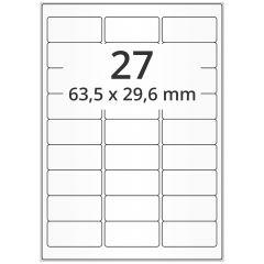 LASER Etiketten, DIN A4 Bogen, Papier, ablösbar, matt, weiß, unbes., 63,5 x 29,6 mm, 100 Blatt, 2700 Etikett(en)