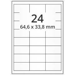 LASER Etiketten, DIN A4 Bogen, Papier, ablösbar, matt, weiß, unbes., 64,6 x 33,8 mm, 100 Blatt, 2400 Etikett(en)