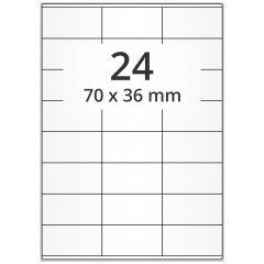 LASER Etiketten, DIN A4 Bogen, Papier, ablösbar, matt, weiß, unbes., 70 x 36 mm, 100 Blatt, 2400 Etikett(en)
