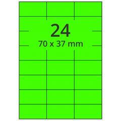 Laser Etiketten, DIN A4 Bogen, Papier, leucht grün, permanent klebend, matt, 70 x 37 mm, 2400 Etikett(en) auf 100 Blatt