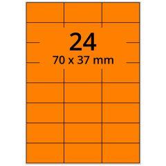 Laser Etiketten, DIN A4 Bogen, Papier, leucht orange, permanent klebend, matt, 70 x 37 mm, 2400 Etikett(en) auf 100 Blatt