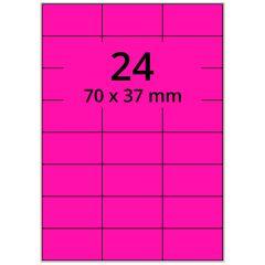 Laser Etiketten, DIN A4 Bogen, Papier, leucht pink, permanent klebend, matt, 70 x 37 mm, 2400 Etikett(en) auf 100 Blatt
