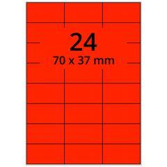 Laser Etiketten, DIN A4 Bogen, Papier, leucht rot, permanent klebend, matt, 70 x 37 mm, 2400 Etikett(en) auf 100 Blatt