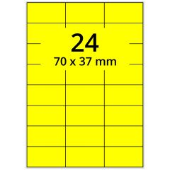 Laser Etiketten, DIN A4 Bogen, Papier, leuchtgelb, permanent klebend, matt, 70 x 37 mm, 2400 Etikett(en) auf 100 Blatt