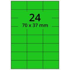 LASER Etiketten, DIN A4 Bogen, Papier, ablösbar, matt, grün, 70 x 37 mm, 100 Blatt, 2400 Etikett(en)