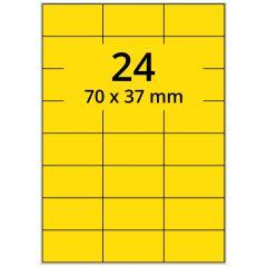 LASER Etiketten, DIN A4 Bogen, Papier, ablösbar, matt, gelb, 70 x 37 mm, 100 Blatt, 2400 Etikett(en)