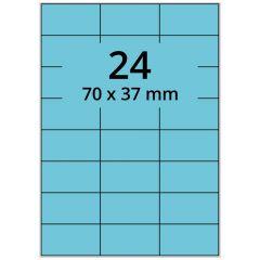 LASER Etiketten, DIN A4 Bogen, Papier, permanent, matt, blau, 70 x 37 mm, 100 Blatt, 2400 Etikett(en)
