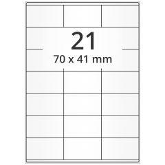 LASER Etiketten, DIN A4 Bogen, Papier, ablösbar, matt, weiß, unbes., 70 x 41 mm, 100 Blatt, 2100 Etikett(en)