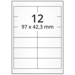 LASER Etiketten, DIN A4 Bogen, Papier, ablösbar, matt, weiß, unbes., 97 x 42,3 mm, 100 Blatt, 1200 Etikett(en)