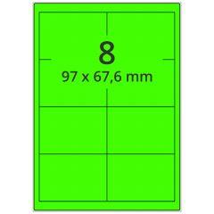 Laser Etiketten, DIN A4 Bogen, Papier, leucht grün, permanent klebend, matt, 97 x 67,6 mm, 800 Etikett(en) auf 100 Blatt