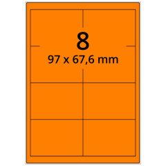 Laser Etiketten, DIN A4 Bogen, Papier, leucht orange, permanent klebend, matt, 97 x 67,6 mm, 800 Etikett(en) auf 100 Blatt