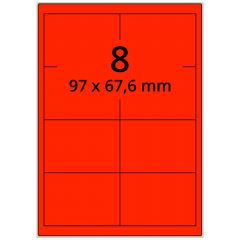 Laser Etiketten, DIN A4 Bogen, Papier, leucht rot, permanent klebend, matt, 97 x 67,6 mm, 800 Etikett(en) auf 100 Blatt