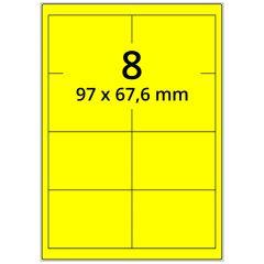 Laser Etiketten, DIN A4 Bogen, Papier, leuchtgelb, permanent klebend, matt, 97 x 67,6 mm, 800 Etikett(en) auf 100 Blatt