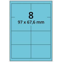 LASER Etiketten, DIN A4 Bogen, Papier, permanent, matt, blau, 97 x 67,6 mm, 100 Blatt, 800 Etikett(en)