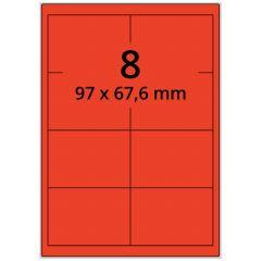 LASER Etiketten, DIN A4 Bogen, Papier, permanent, matt, rot, 97 x 67,6 mm, 100 Blatt, 800 Etikett(en)