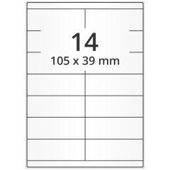 LASER Etiketten, DIN A4 Bogen, Papier, ablösbar, matt, weiß, unbes., 105 x 39 mm, 100 Blatt, 1400 Etikett(en)