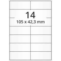 LASER Etiketten, DIN A4 Bogen, Papier, permanent, matt, weiß (blickdicht), 105 x 42,3 mm, 100 Blatt, 1400 Etikett(en)