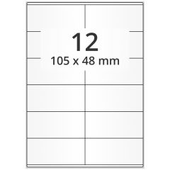LASER Etiketten, DIN A4 Bogen, Papier, ablösbar, matt, weiß, unbes., 105 x 48 mm, 100 Blatt, 1200 Etikett(en)