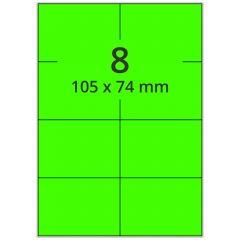 Laser Etiketten, DIN A4 Bogen, Papier, leucht grün, permanent klebend, matt, 105 x 74 mm, 800 Etikett(en) auf 100 Blatt