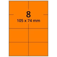 sw/fbg Laser Etiketten, DIN A4 Bogen, Papier, leucht orange, permanent klebend, matt, 105 x 74 mm, 800 Etikett(en) auf 100 Blatt