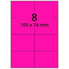 sw/fbg Laser Etiketten, DIN A4 Bogen, Papier, leucht pink, permanent klebend, matt, 105 x 74 mm, 800 Etikett(en) auf 100 Blatt