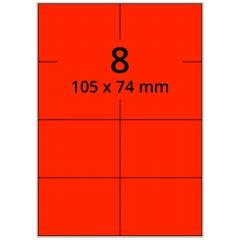 sw/fbg Laser Etiketten, DIN A4 Bogen, Papier, leucht rot, permanent klebend, matt, 105 x 74 mm, 800 Etikett(en) auf 100 Blatt