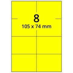 Laser Etiketten, DIN A4 Bogen, Papier, leuchtgelb, permanent klebend, matt, 105 x 74 mm, 800 Etikett(en) auf 100 Blatt