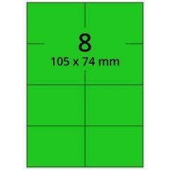 LASER Etiketten, DIN A4 Bogen, Papier, ablösbar, matt, grün, 105 x 74 mm, 100 Blatt, 800 Etikett(en)