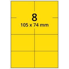 LASER Etiketten, DIN A4 Bogen, Papier, ablösbar, matt, gelb, 105 x 74 mm, 100 Blatt, 800 Etikett(en)